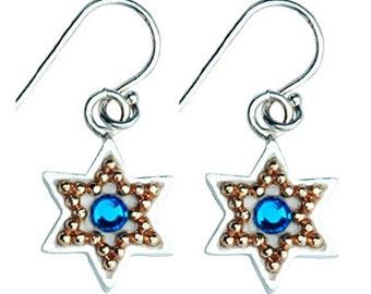 Golden Beads Star of David Earrings by Ester Shahaf
