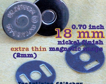 15 Sets Extra Thin Magnetic Snap Closures - 2mm slim (available in 18mm and 14mm diameter and nickel and antique brass)
