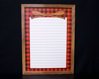 Buffalo Plaid Memo Board Whiteboard - Dry Erase Message Board / Note Board / Command Center - Black and Red Buffalo Plaid and Crossed Oars
