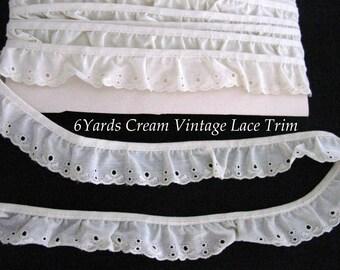 Lace Eyelet Trim Cream Ivory Beige Ruffle Vintage 6 yards