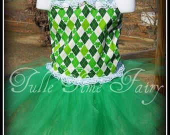 St Patricks Day argyle corset tutu birthday pageant dress 12m 18m 2t 3t 4t 5t