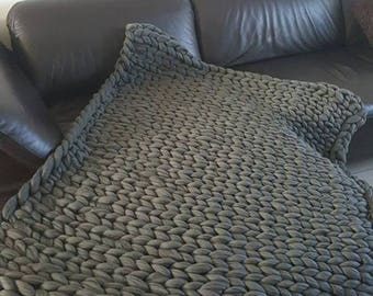 cover / blanket / rug 140 * 98 XXL gray Merino
