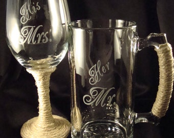 "Custom Etched Glassware Perfect for the Bride and Groom ""His Mrs"" and ""Her Mr""  - Wine Glass and Beer Mug with Date on Back - Burlap Wrapped"