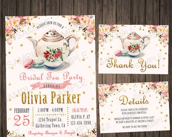 Tea Party Bridal Shower Invitation Tea Party Bridal Shower Party Tea Party Invitation Wedding Shower Invitations Printable Pink and Gold