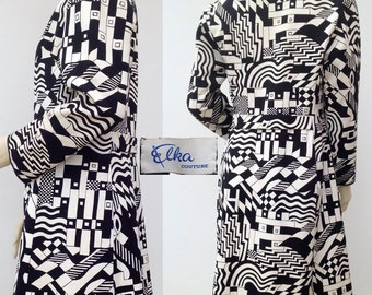Fabulous 1960s coat Op-Art vintage Elka Couture