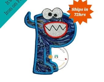 Monster letter P applique, initial embroidered patch, bright iron on applique letter, iron on letter embellishment, iron on monogram patch