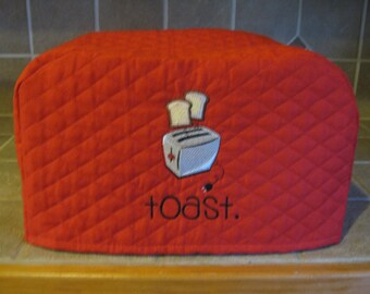 Red Toaster Cover with toast popping out, 2 or 4 Slice