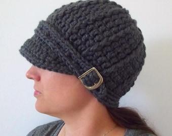 Womens Hat Womens Beanie Womens Cap Steel Gray Hat Gray Womens Hat Gray Crochet Hat Knit like Buckle Beanie Gray Winter Hat Trendy Hat