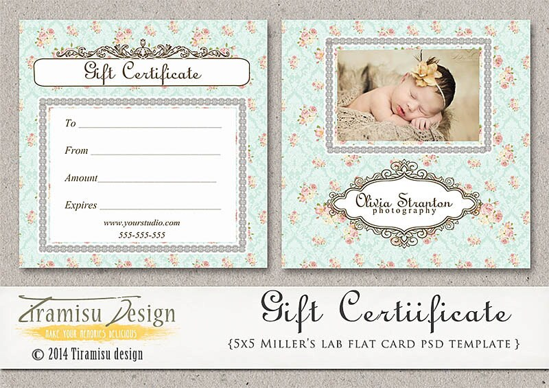 Photography gift certificate photoshop 5x5 card template zoom yadclub Gallery