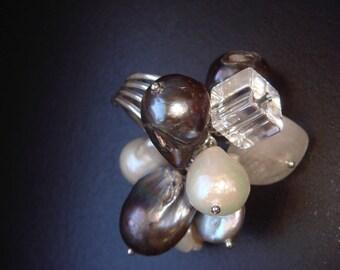 Nereid: Ring, Pearl petals, carved rock crystal, natural Baroque pearls