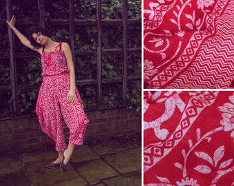 Handmade Batik Jumpsuit for women with elasticated waist.  Red and White floral jumpsuit for summer.