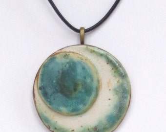 Round Earthy Ceramic Pendant Organic Clay Necklace Green And Cream Pottery Jewelry Rustic Pendant