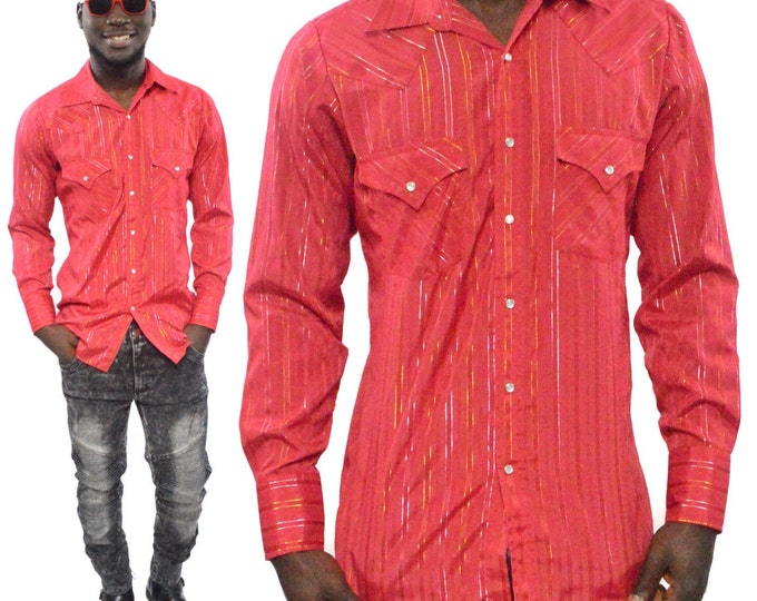 Vintage 80s Ely Cattleman Button Down Red Sparkly Red Western Shirt