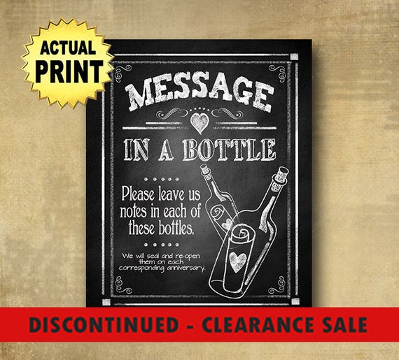 CLEARANCE Message in a bottle wedding sign, Wedding bottle sign, wedding guestbook sign, nautical wedding, rustic wedding, chalkboard print