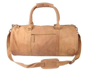 Leather weekend bag - Leather duffle bag - overnight bag - gym bag in Vintage Cognac by MAHI Leather