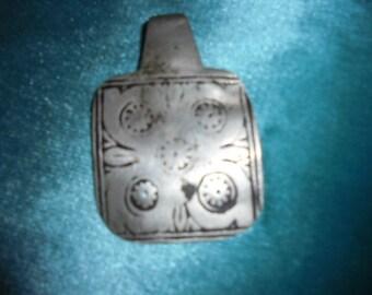 Moroccan Jewelry, super-old and worn Berber rare nielo fine silver pendant, 2 1/4 inches