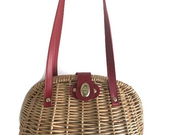 Wicker Tasche / Korb Tasche Stroh Tasche / Markt-Tasche gewebt / Holz Holz Geldbörse / Vintage Wicker Handtasche / Sommer Picknick Tasche /Retro Umhängetasche