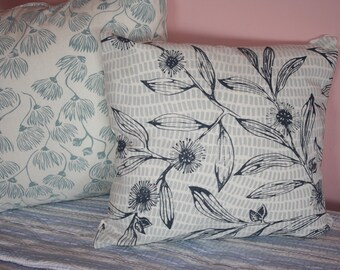 Australian design screen print cushion cover.Linen.