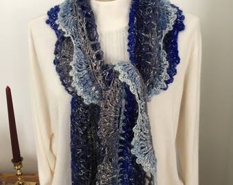 Crocheted Scalloped Lace Scarf