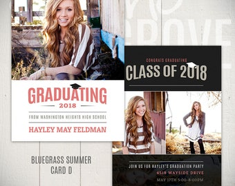 Senior Announcement Card Template: Bluegrass Summer D - 5x7 Graduation Card Template