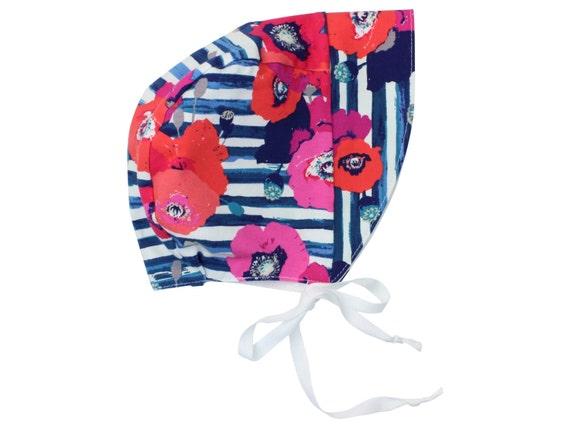Baby Sun Bonnet Toddler Sun Bonnet Coral Pink Blue Baby Bonnet Modern Bonnet Floral Bonnet