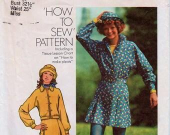 "Mini Skirt Pattern Skirt and Jacket Bucket Hat Pattern SIMPLICITY 5422 bust 32.5"" Dolman Sleeve Jacket Retro Jacket Pattern 1970s Skirt"