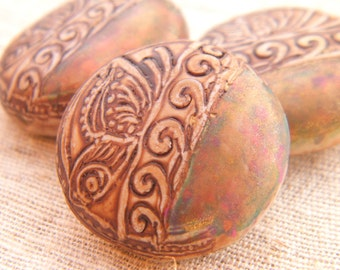 Tan and Golden Peacock - Resting Butterfly Round Bead - handpainted polymer clay butterfly rustic boho chic (ready to ship)