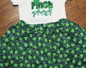 Girl St. Patrick Day outfit, Girls St. Patrick's Day shirt, Pinch Proof,Four Leaf Clover shirt, St. Patricks Day twirl skirt, Twirl skirt