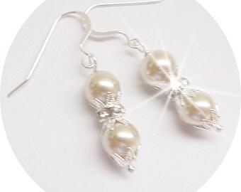 Bridal Earrings Cream Earrings, Rhinestone Pearl Earrings, Bridesmaid Earrings Bridal Accessories, Mother of the Bride, Mother of the Groom