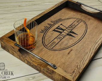 Personalized bourbon barrel head serving tray, wine barrel tray, personalized wedding gift, personalized wood tray, monogramed tray