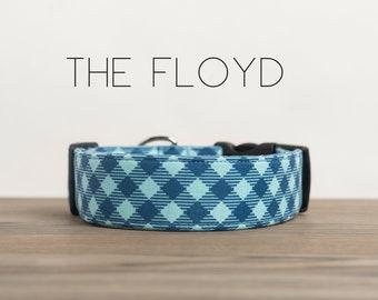 """Modern Blue Plaid Menswear Inspired Dog Collar """"The Floyd"""""""