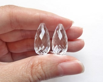 Sparkly Crystal Quartz Half Top drilled Faceted Long Teardrops 10x20 mm One Pair J7185
