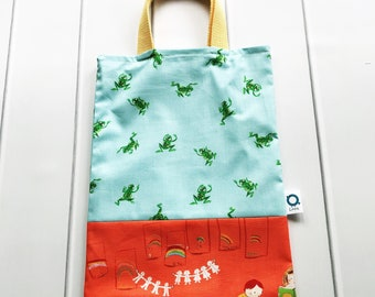 Children's Tote Book Bag in Heather Ross cotton fabric