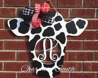 Wooden Cow with Single Monogram