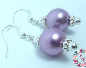 Pearl Drop Earrings, Bridal Earrings, Pearl Earrings Wedding, Ivory Pearl Earrings, Silver French Hooks, Bridesmaids gift