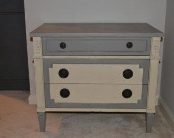 Vintage Drexel Nightstand, marble top, Annie Sloan paint