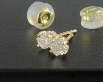 3.5mm White Raw Diamond Studs - 14K Yellow Gold Studs with Rough Diamonds - Gold Posts - Ear Studs