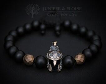 Beaded Bracelet, Elven Helmet Bracelet, Men's Bracelet, Elven Bracelet, Elven Jewelry, Helmet charm, Mens Jewelry, Elven Warrior Helmet