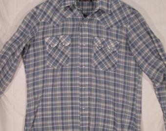 vintage, Levis western wear white tab cowboy blue plaid yoke pearl snap mens ranch hand shirt XL