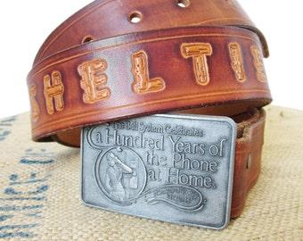 Vintage Bell Phone Company Belt Buckle Tooled Leather Sheltie Stamped Belt