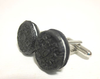 Oreo Cookie Cuff Links, Miniature Food Jewelry, Polymer Clay Food men