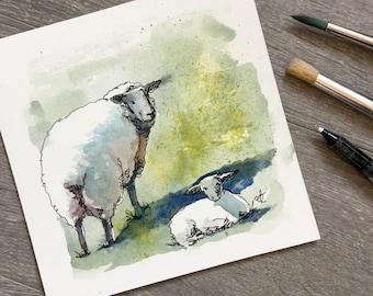Sheep farm life original watercolour and ink painting Ewe and lamb