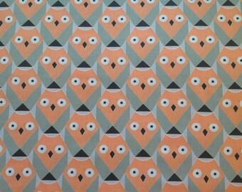 Owls print fabric, 100% cotton, orange owls