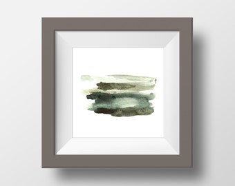 Abstract Watercolor Art Print, Textures #2, Brown, Green, Gray, Modern Wall Art, Home Decor, Minimalism, Earth Tones, Square art
