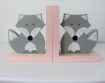 Fox Bookends, Gray and Pink Blue, Woodland Nursery, Woodland Kids Decor, Fox Nursery, Forest Themed Nursery, eco friendly