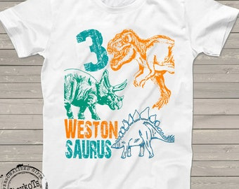 Dinosaur birthday shirt for kids personalized gift tshirt 3rd bday 1st, 2nd, 4th, 5th, any birthday dino t-rex theme party shirts boys girls
