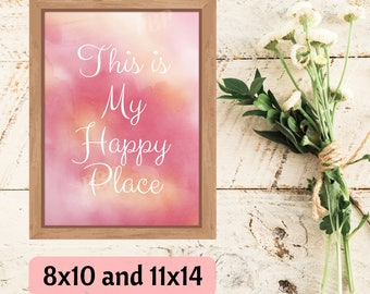My Happy Place Print, Art Printable, Home Decor Wall Art, Craft Room Decor, My Happy Place Sign, Sewing Room, Housewarming, Instant Download