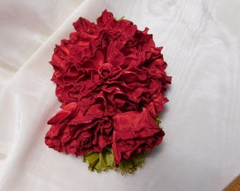 Red Roses Ribbon Flowers Applique Corsage Ribbonwork