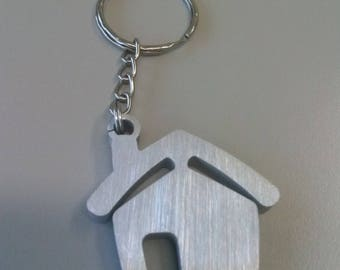 Home Sweet House, stylized house, real estate gadget, aluminum Keychain