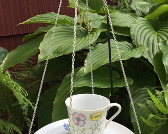Upcycled teacup bird feeder pink yellow and blue flower